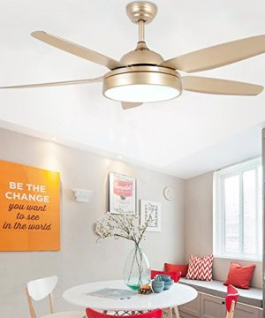 Tropicalfan Ceiling Fan Chandelier With LED Light And 5 Blades Remote Control For Home Decoration Living Room Bedroom 52 Inch Champagne 0 0 300x360