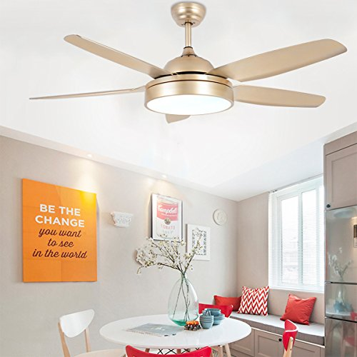 Tropicalfan Ceiling Fan Chandelier With LED Light And 5 Blades Remote Control For Home Decoration Living Room Bedroom 52 Inch Champagne 0 0