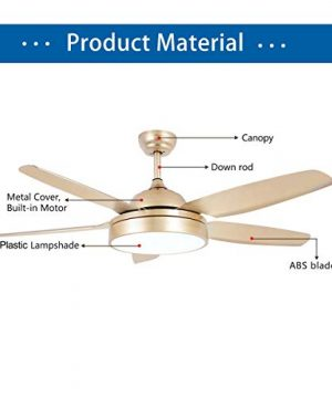 Tropicalfan Ceiling Fan Chandelier With LED Light And 5 Blades Remote Control For Home Decoration Living Room Bedroom 52 Inch Champagne 0 2 300x360