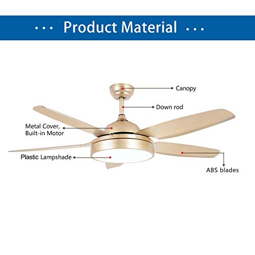Tropicalfan Ceiling Fan Chandelier With LED Light And 5 Blades Remote Control For Home Decoration Living Room Bedroom 52 Inch Champagne 0 2