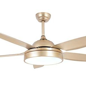 Tropicalfan Ceiling Fan Chandelier With LED Light And 5 Blades Remote Control For Home Decoration Living Room Bedroom 52 Inch Champagne 0 300x323