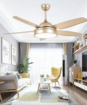 Tropicalfan Ceiling Fan Chandelier With LED Light And 5 Blades Remote Control For Home Decoration Living Room Bedroom 52 Inch Champagne 0 5 300x360