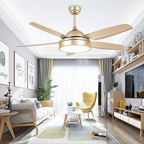 Tropicalfan Ceiling Fan Chandelier With LED Light And 5 Blades Remote Control For Home Decoration Living Room Bedroom 52 Inch Champagne 0 5
