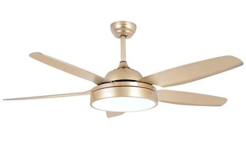 Tropicalfan Ceiling Fan Chandelier With LED Light And 5 Blades Remote Control For Home Decoration Living Room Bedroom 52 Inch Champagne 0