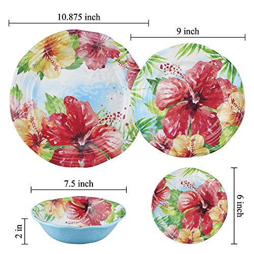 UPware 4 Piece Hibiscus Heavyweight And Durable Melamine 6 Inch Serving PlatesAppetizer PlatesDessert Plates 0 1