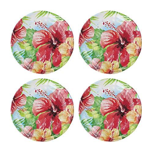 UPware 4 Piece Hibiscus Heavyweight And Durable Melamine 6 Inch Serving PlatesAppetizer PlatesDessert Plates 0