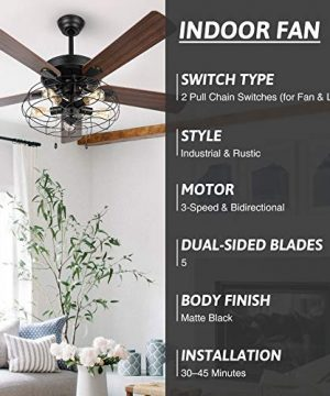 VONLUCE 52 Industrial Ceiling Fan With Lights 5 Light Farmhouse Ceiling Fan Rustic With Cage Shade 5 Cherry And Walnut Blades Black Cage Ceiling Fan Light Fixture For Kitchen Living Room Bedroom 0 2 300x360