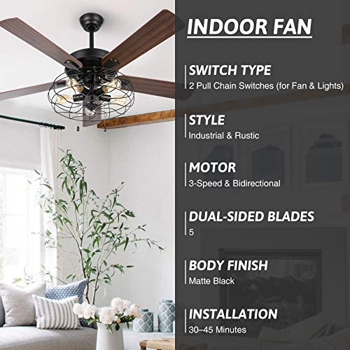 VONLUCE 52 Industrial Ceiling Fan With Lights 5 Light Farmhouse Ceiling Fan Rustic With Cage Shade 5 Cherry And Walnut Blades Black Cage Ceiling Fan Light Fixture For Kitchen Living Room Bedroom 0 2