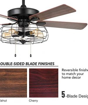 VONLUCE 52 Industrial Ceiling Fan With Lights 5 Light Farmhouse Ceiling Fan Rustic With Cage Shade 5 Cherry And Walnut Blades Black Cage Ceiling Fan Light Fixture For Kitchen Living Room Bedroom 0 3 300x360