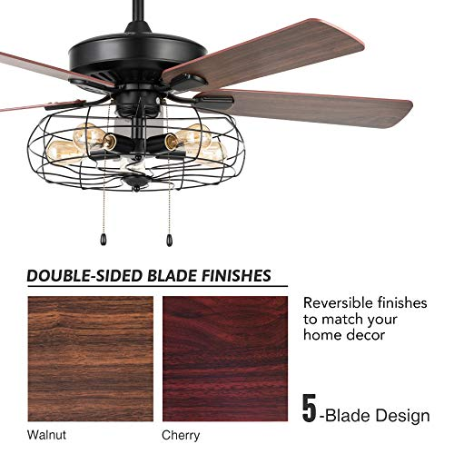 VONLUCE 52 Industrial Ceiling Fan With Lights 5 Light Farmhouse Ceiling Fan Rustic With Cage Shade 5 Cherry And Walnut Blades Black Cage Ceiling Fan Light Fixture For Kitchen Living Room Bedroom 0 3