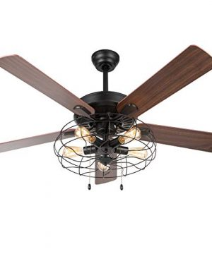 VONLUCE 52 Industrial Ceiling Fan With Lights 5 Light Farmhouse Ceiling Fan Rustic With Cage Shade 5 Cherry And Walnut Blades Black Cage Ceiling Fan Light Fixture For Kitchen Living Room Bedroom 0 300x360