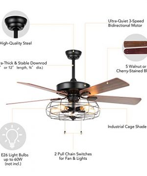 VONLUCE 52 Industrial Ceiling Fan With Lights 5 Light Farmhouse Ceiling Fan Rustic With Cage Shade 5 Cherry And Walnut Blades Black Cage Ceiling Fan Light Fixture For Kitchen Living Room Bedroom 0 4 300x360