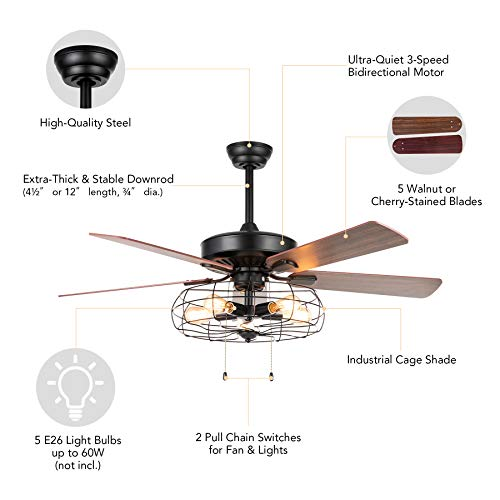VONLUCE 52 Industrial Ceiling Fan With Lights 5 Light Farmhouse Ceiling Fan Rustic With Cage Shade 5 Cherry And Walnut Blades Black Cage Ceiling Fan Light Fixture For Kitchen Living Room Bedroom 0 4