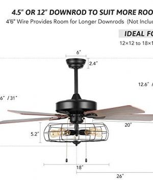 VONLUCE 52 Industrial Ceiling Fan With Lights 5 Light Farmhouse Ceiling Fan Rustic With Cage Shade 5 Cherry And Walnut Blades Black Cage Ceiling Fan Light Fixture For Kitchen Living Room Bedroom 0 5 300x360