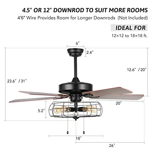VONLUCE 52 Industrial Ceiling Fan With Lights 5 Light Farmhouse Ceiling Fan Rustic With Cage Shade 5 Cherry And Walnut Blades Black Cage Ceiling Fan Light Fixture For Kitchen Living Room Bedroom 0 5
