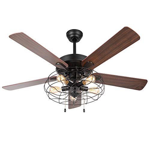 VONLUCE 52 Industrial Ceiling Fan With Lights 5 Light Farmhouse Ceiling Fan Rustic With Cage Shade 5 Cherry And Walnut Blades Black Cage Ceiling Fan Light Fixture For Kitchen Living Room Bedroom 0