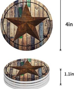 Vandarllin Drink Coasters Rustic Barn Star Vintage Western Texas Star Absorbent Stone Ceramic Coaster With Cork Back And NO Holder For Cups Set Of 6 Piece 0 0 300x360