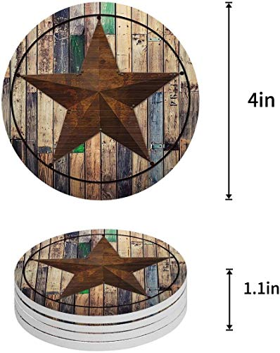 Vandarllin Drink Coasters Rustic Barn Star Vintage Western Texas Star Absorbent Stone Ceramic Coaster With Cork Back And NO Holder For Cups Set Of 6 Piece 0 0