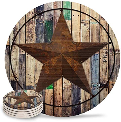 Vandarllin Drink Coasters Rustic Barn Star Vintage Western Texas Star Absorbent Stone Ceramic Coaster With Cork Back And NO Holder For Cups Set Of 6 Piece 0