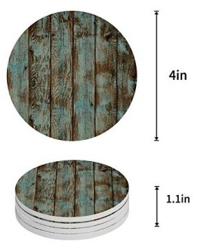 Vandarllin Drink Coasters Rustic Old Barn Wood Art Absorbent Stone Ceramic Coaster With Cork Back And NO Holder For Cups Set Of 4 Piece 0 0 300x360