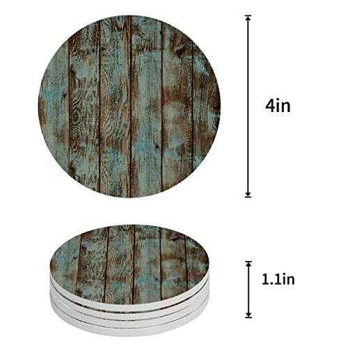 Vandarllin Drink Coasters Rustic Old Barn Wood Art Absorbent Stone Ceramic Coaster With Cork Back And NO Holder For Cups Set Of 4 Piece 0 0