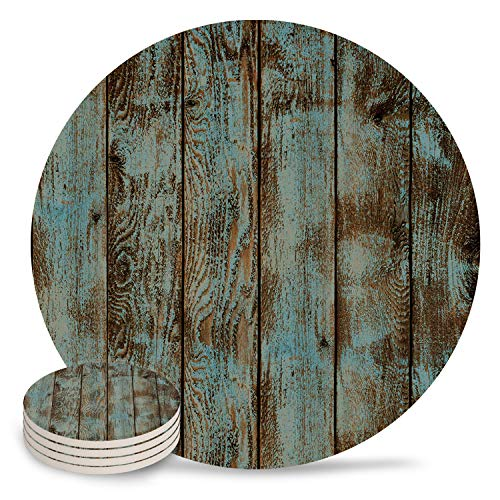 Vandarllin Drink Coasters Rustic Old Barn Wood Art Absorbent Stone Ceramic Coaster With Cork Back And NO Holder For Cups Set Of 4 Piece 0