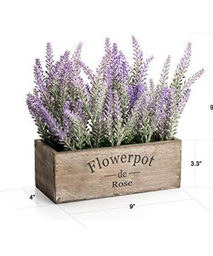 Velener Artificial Flower Potted Lavender Plant For Home Decor Wooden Tray 9 Long 0 1 300x360