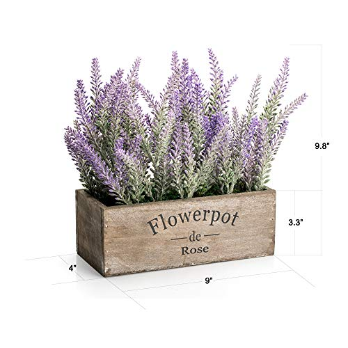 Velener Artificial Flower Potted Lavender Plant For Home Decor Wooden Tray 9 Long 0 1