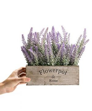 Velener Artificial Flower Potted Lavender Plant For Home Decor Wooden Tray 9 Long 0 2 300x360