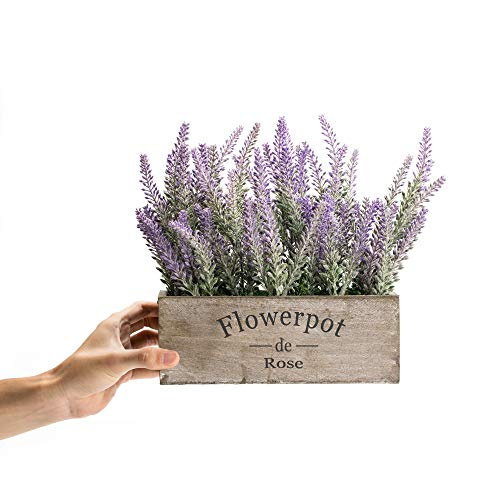 Velener Artificial Flower Potted Lavender Plant For Home Decor Wooden Tray 9 Long 0 2