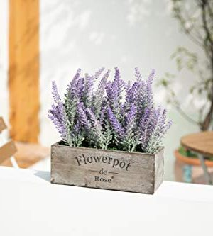 Velener Artificial Flower Potted Lavender Plant For Home Decor Wooden Tray 9 Long 0 3 300x333