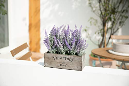Velener Artificial Flower Potted Lavender Plant For Home Decor Wooden Tray 9 Long 0 3