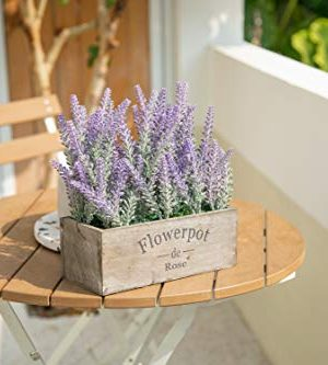 Velener Artificial Flower Potted Lavender Plant For Home Decor Wooden Tray 9 Long 0 4 300x333