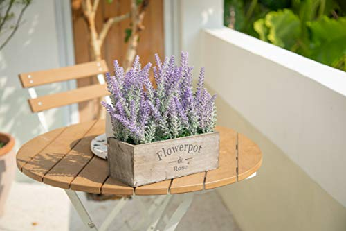 Velener Artificial Flower Potted Lavender Plant For Home Decor Wooden Tray 9 Long 0 4