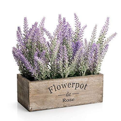 Velener Artificial Flower Potted Lavender Plant For Home Decor Wooden Tray 9 Long 0
