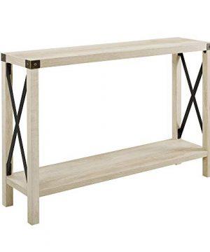 Walker Edison Sedalia Modern Farmhouse Metal X Entry Table 46 Inch White 0 300x360