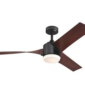 Westinghouse Lighting 7227000 Evan Modern LED Ceiling Fan With Light And Remote Control 52 Inch Matte Black Finish Opal Frosted Glass 0 300x360
