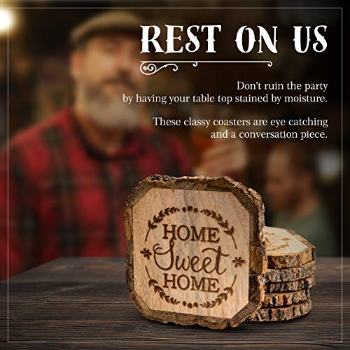 Wooden Rustic Farmhouse Coasters Set Of Wood Coasters Home Sweet Home 6 Pack 0 0