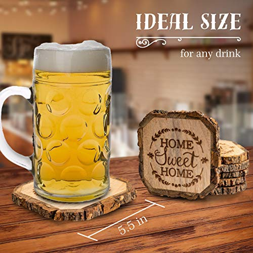 Wooden Rustic Farmhouse Coasters Set Of Wood Coasters Home Sweet Home 6 Pack 0 1