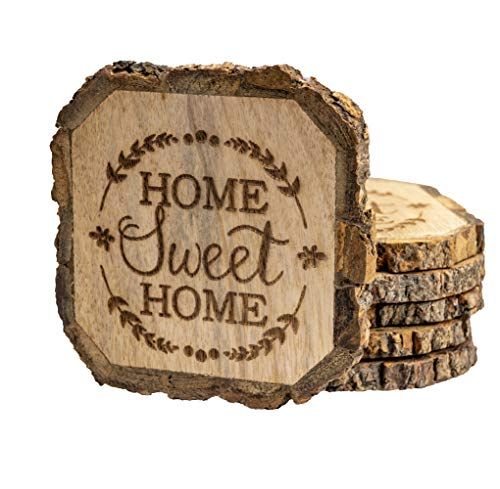 Wooden Rustic Farmhouse Coasters Set Of Wood Coasters Home Sweet Home 6 Pack 0