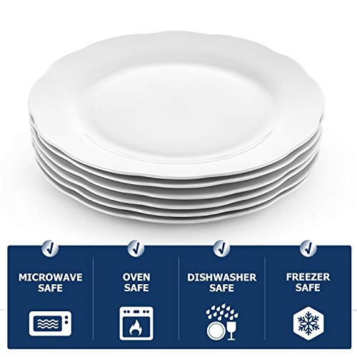 Y YHY Christmas Dinner Plates Set 106 Porcelain Dinner Plate Set Of 6 White Serving Plates For Restaurant Kitchen And Family Party Use Reusable Dishwasher Microwave Safe 0 4