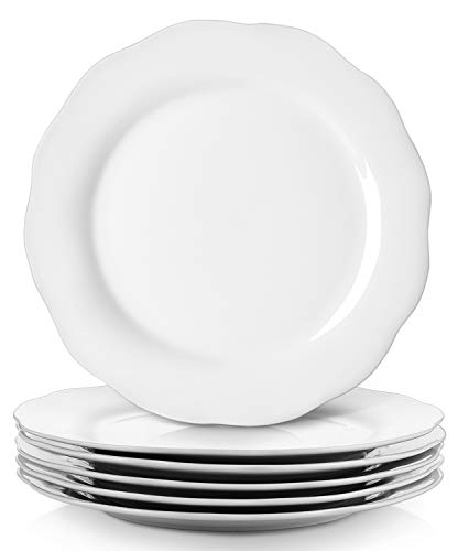 Y YHY Christmas Dinner Plates Set 106 Porcelain Dinner Plate Set Of 6 White Serving Plates For Restaurant Kitchen And Family Party Use Reusable Dishwasher Microwave Safe 0