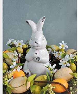 YANGMEI Antique White Bunny Ceramic Rabbit Statue Easter Spring Decoration Vintage With Distressed Rustic Bunny Figurine Mantel Shelf Ornament Gift 0 2 300x360