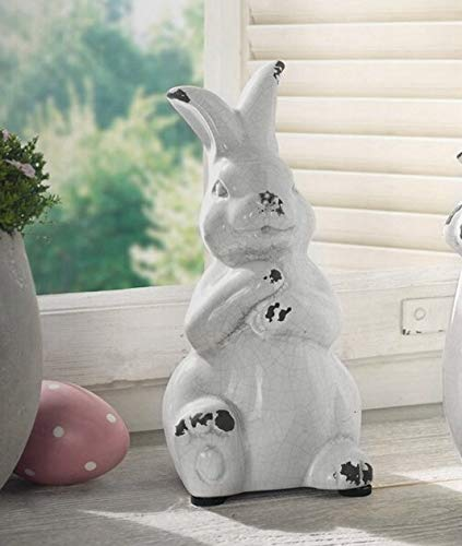 YANGMEI Antique White Bunny Ceramic Rabbit Statue Easter Spring Decoration Vintage With Distressed Rustic Bunny Figurine Mantel Shelf Ornament Gift 0 3