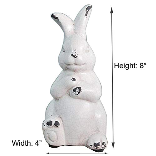 YANGMEI Antique White Bunny Ceramic Rabbit Statue Easter Spring Decoration Vintage With Distressed Rustic Bunny Figurine Mantel Shelf Ornament Gift 0 4