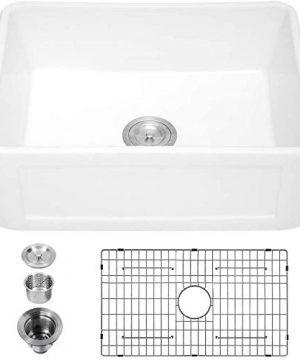 24 Farmhouse Sink Logmey 24 X 18Fireclay Farmhouse Sink Single Bowl Apron Front Small Kitchen Sink Farm Sink Laundry Utility Sink 0 300x360