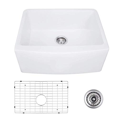 24 Inch Farmhouse Kitchen Sink Fireclay Single Bowl Small Sink White Kitchen Sink With Protective Bottom Grid And Strainer 0 0