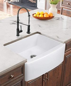 24 Inch Farmhouse Kitchen Sink Fireclay Single Bowl Small Sink White Kitchen Sink With Protective Bottom Grid And Strainer 0 1 300x360