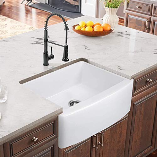 24 Inch Farmhouse Kitchen Sink Fireclay Single Bowl Small Sink White Kitchen Sink With Protective Bottom Grid And Strainer 0 1