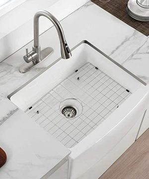 24 Inch Farmhouse Kitchen Sink Fireclay Single Bowl Small Sink White Kitchen Sink With Protective Bottom Grid And Strainer 0 300x360
